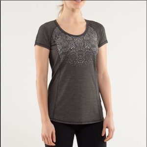 LULULEMON Dark Gray Run Wild Short Sleeve Tech Top